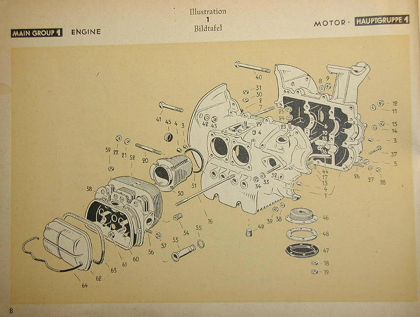 page008 zar werks 1945 vw parts book Type 1 VW Engine Diagram at bayanpartner.co